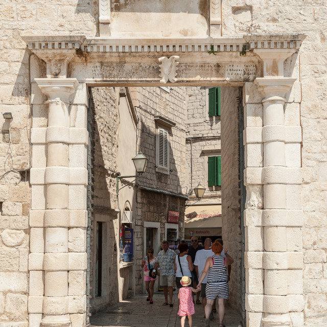 """Croatia, Trogir sightseeing a great UNESCO World Heritage town."" stock image"