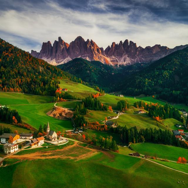 """Santa Maddalena village in front of the Geisler or Odle Dolomite"" stock image"