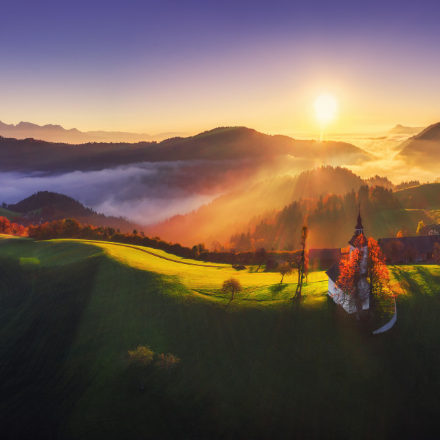 """Aerial view of Saint Tomas church, Slovenia"" stock image"