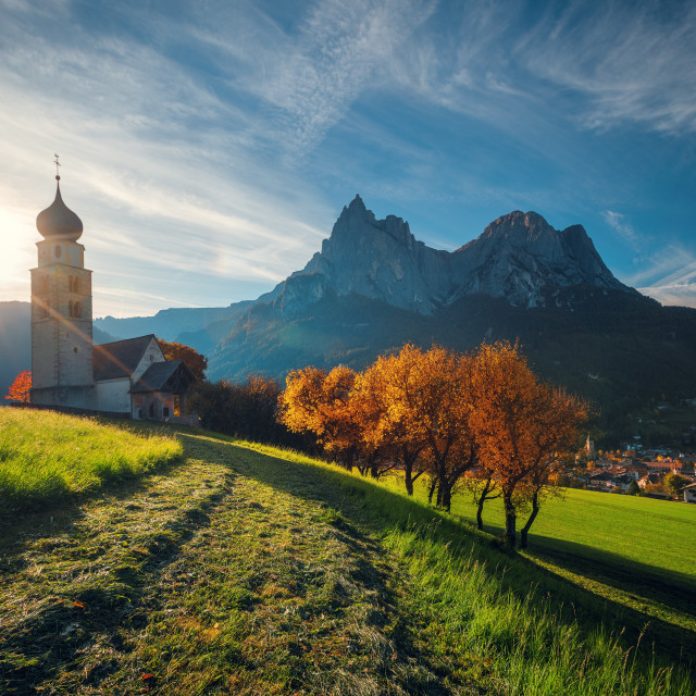 """St. Valentin church, Castelrotto Kastelruth, Alto Adige or South"" stock image"