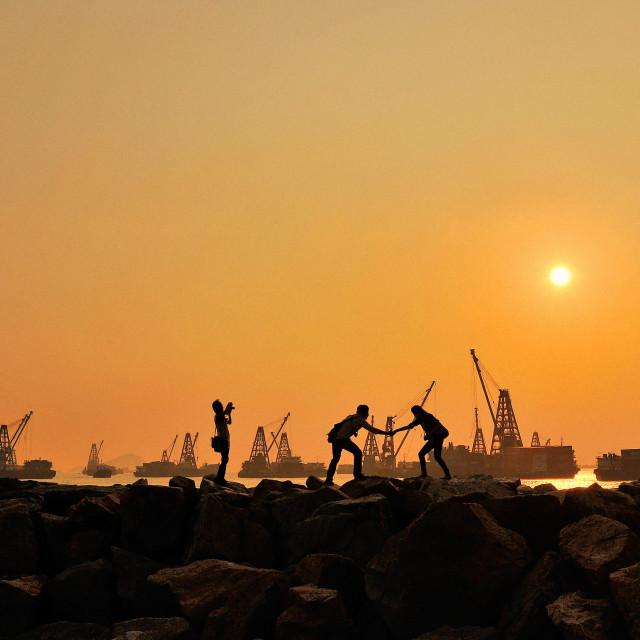 """Yau Ma Tei Breakwater, Hong Kong"" stock image"
