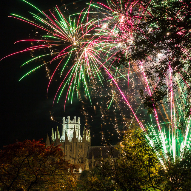 """""""Fireworks over the Cathederal at Ely"""" stock image"""