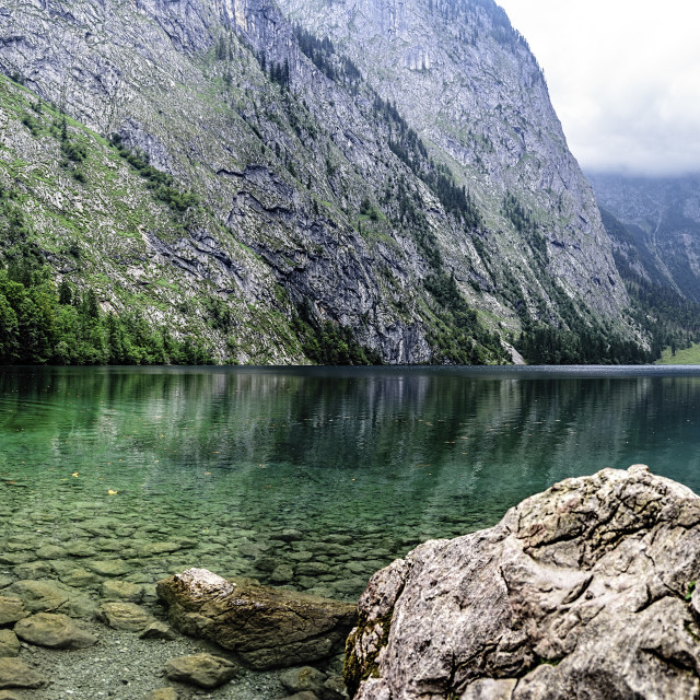 """Scenic view of Obersee in Bavaria a misty day"" stock image"