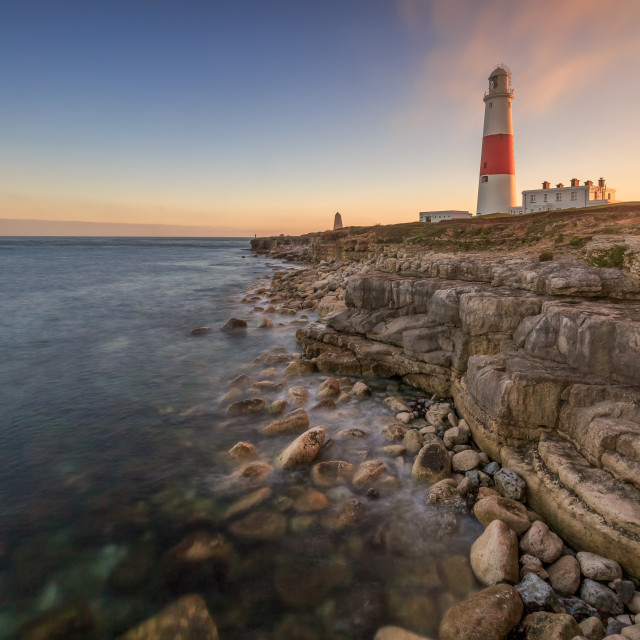 """Portland Bill lighthouse sunset"" stock image"