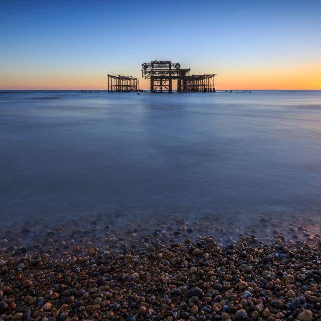 """West Pier at low tide"" stock image"