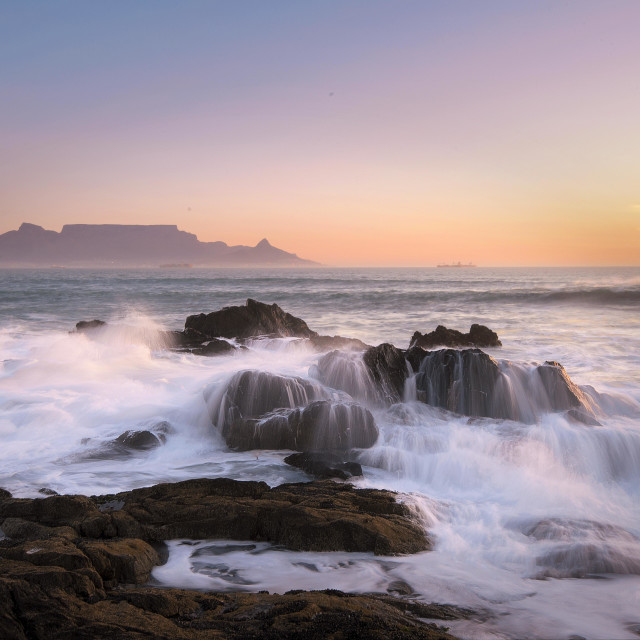 """Table Mountain at dusk"" stock image"
