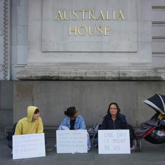 """""""humanitarian crisis protest at the High Commission of Australia, London"""" stock image"""