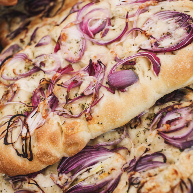 """Red Onion Focaccia"" stock image"