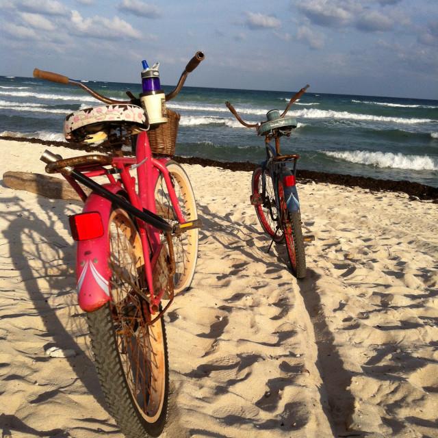 """Bikes on the beach"" stock image"