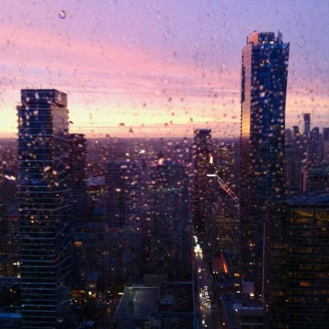 """""""Rainy skyline at sunset"""" stock image"""