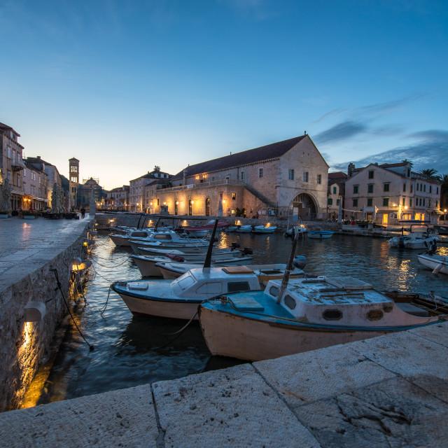 """Dusk on Hvar Harbour Croatia"" stock image"