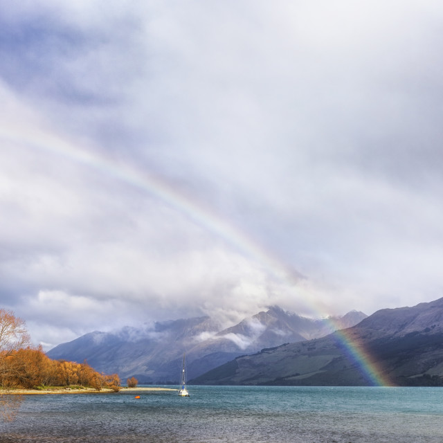 """Rainbow over Lake Wakatipu at Glenorchy, New Zealand"" stock image"
