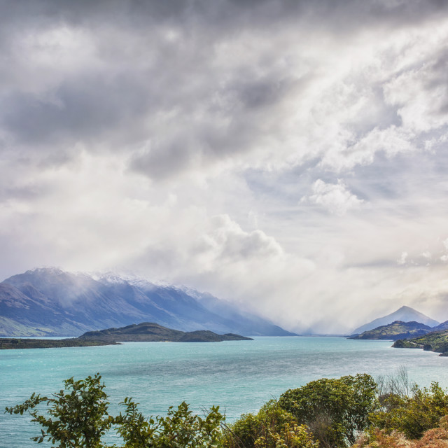 """Pig Island in Lake Wakatipu, on the way to Glenorchy, New Zealand"" stock image"