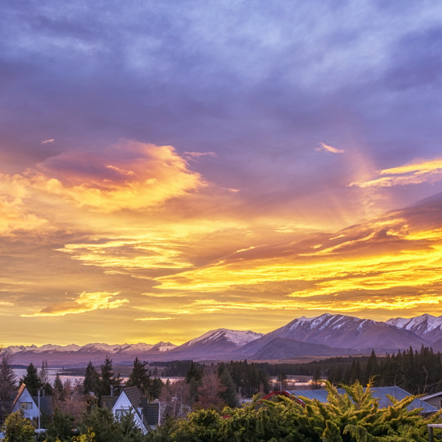 """Flaming Lake Tekapo Sunrise"" stock image"