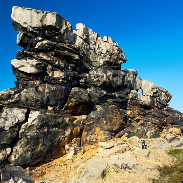 """sandstone wall Teufelsmauer Harz"" stock image"