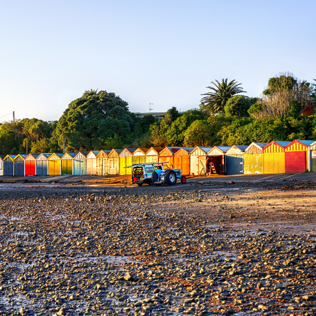 """Colourful Boatsheds at Titahi Bay, New Zealand"" stock image"