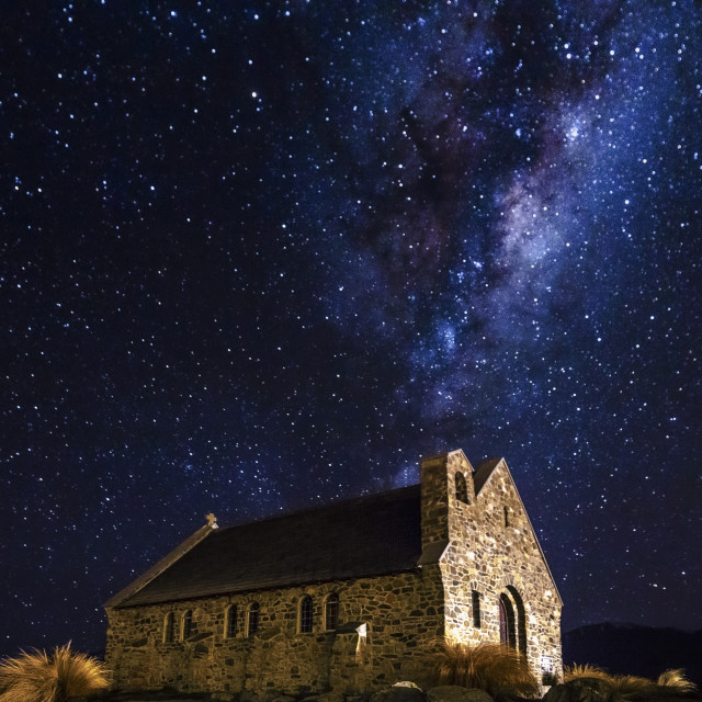 """Milky Way over the Church of the Good Shepherd, Tekapo, New Zealand"" stock image"
