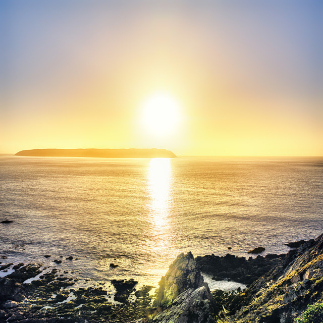 """Sunset from the lookout above Titahi Bay, New Zealand"" stock image"