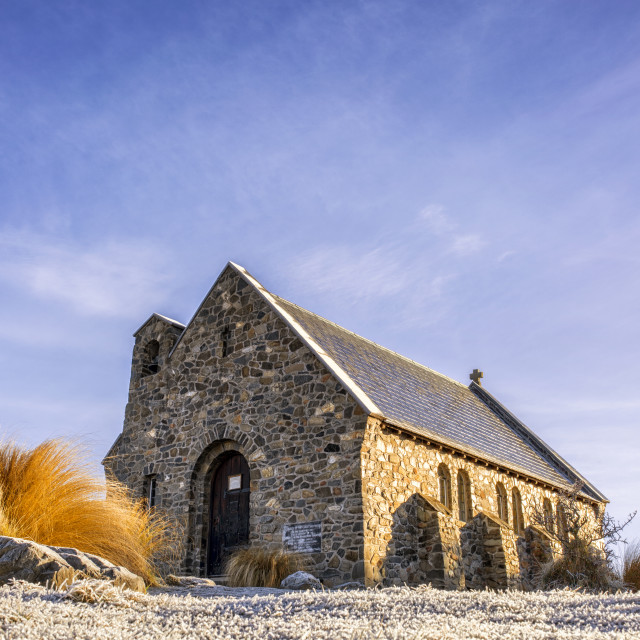 """Frosty Morning at the Church of the Good Shepherd, Tekapo, New Zealand"" stock image"
