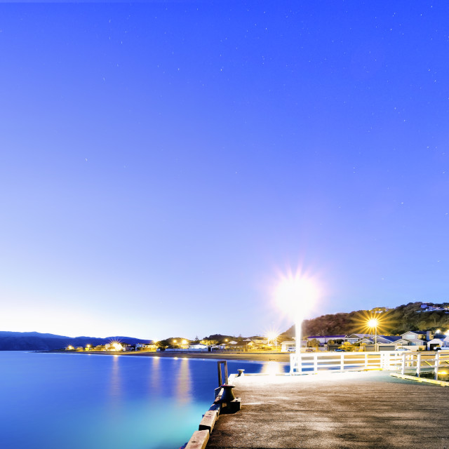 """Dawn at Seatoun Wharf, Wellington, New Zealand"" stock image"