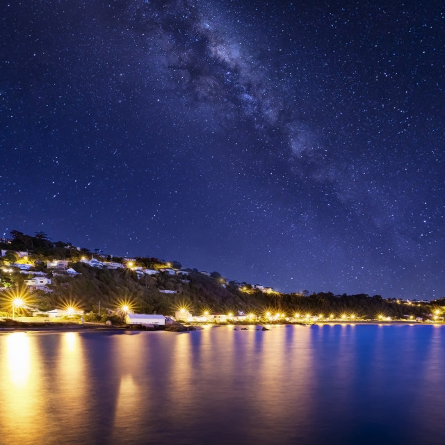 """Milky Way off Seatoun Wharf, Wellington, New Zealand"" stock image"