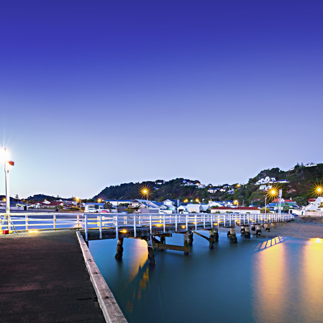 """First fisherman at dawn, Seatoun Wharf, Wellington, New Zealand"" stock image"