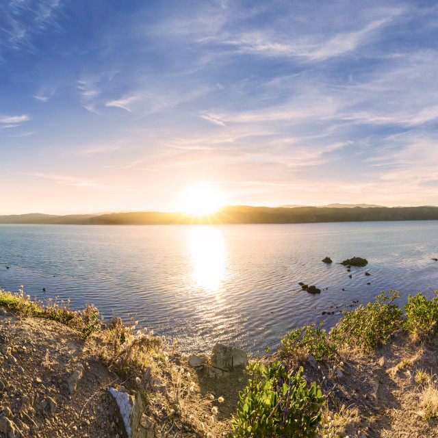 """Panoramic view from Point Dorset of the sun rise, Wellington, New Zealand"" stock image"