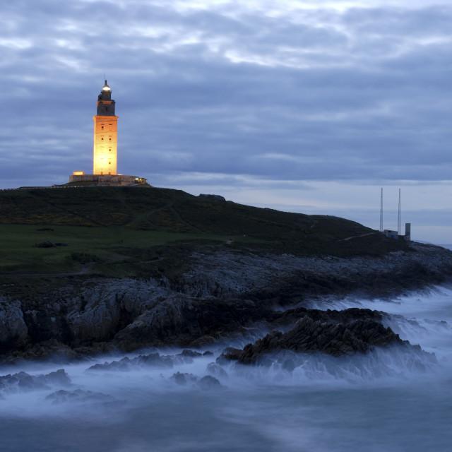 """""""A Coruna Spain Torre de Hercules, lighthouse on the Galician Atlantic coast."""" stock image"""