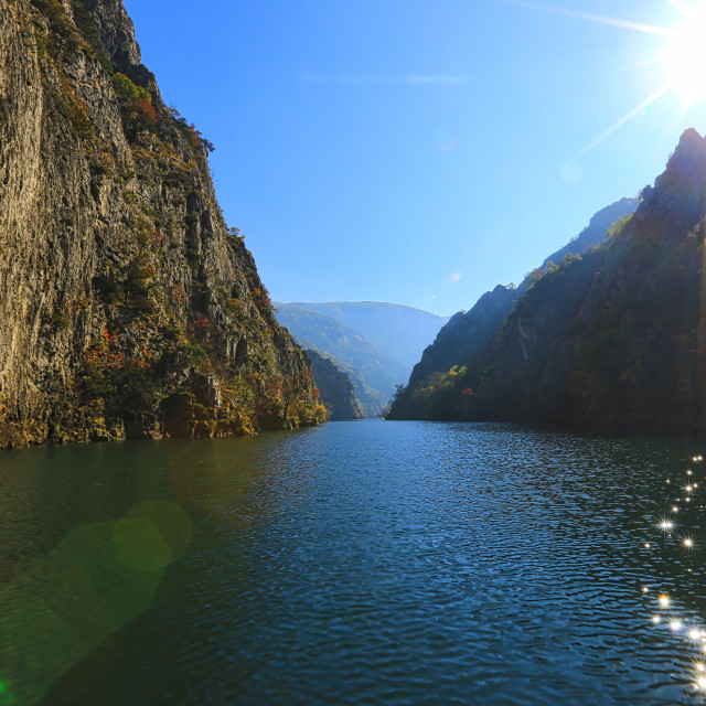 """boat cruise at Matka Canyon Macedonia"" stock image"