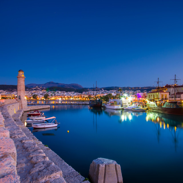 """Rethimno city at Crete island in Greece. The old venetian harbor at night."" stock image"