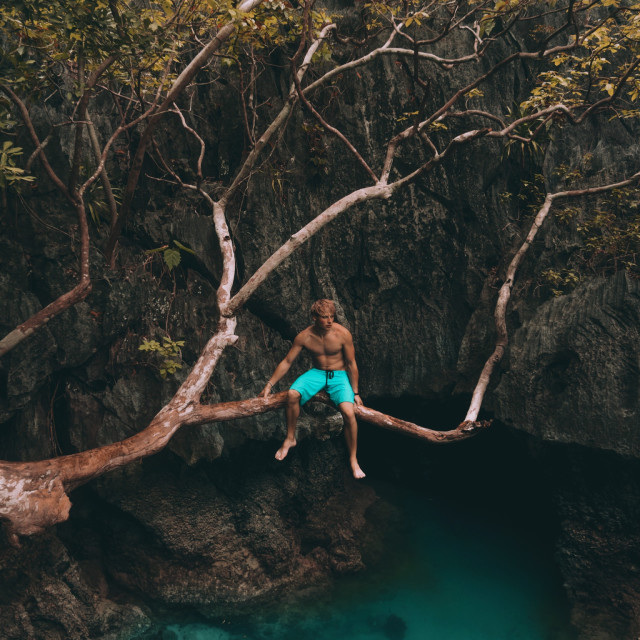 """Caves in Big Lagoon, El Nido, Philippines"" stock image"