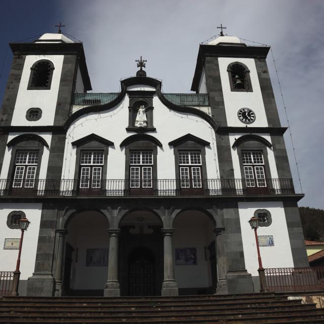 """Madeira, Funchal, part of town Monte, pilgrimage church Igreja de Nossa..."" stock image"