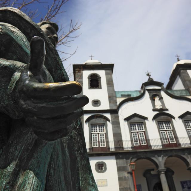 """Madeira, mountain village Monte with Funchal, pilgrimage church Igreja de..."" stock image"