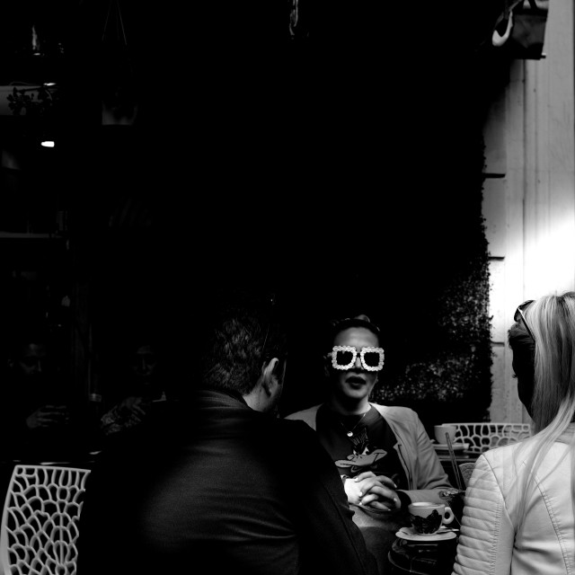 """Rome cafe sunglasses"" stock image"
