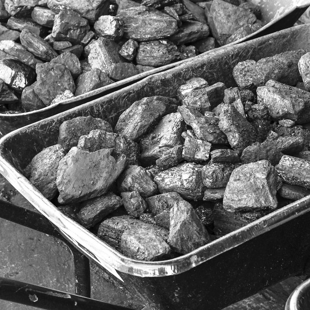 """wheelbarrows filled with coal"" stock image"
