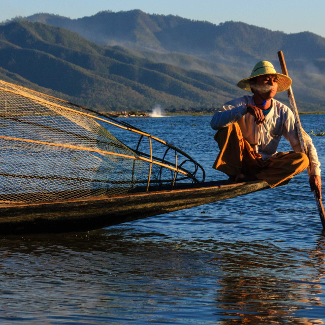 """Fisherman, Inle Lake, Burma"" stock image"