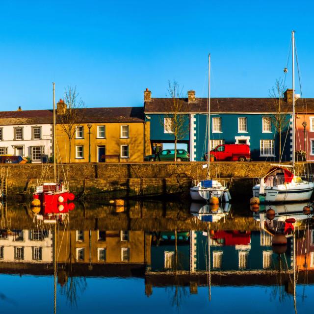 """The harbour at Aberaeron"" stock image"