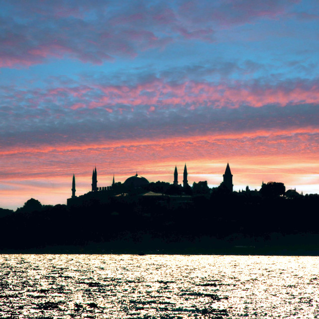 """""""Evening over the Blue Mosque in Istanbul, Turkey."""" stock image"""