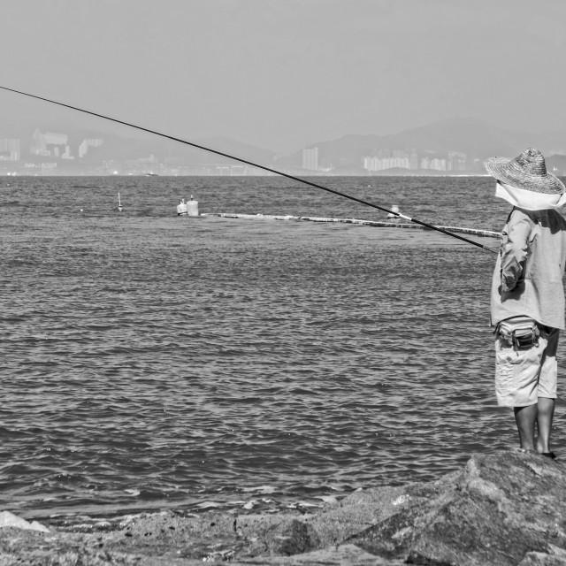 """""""Fisherman on Cheung Chau Island"""" stock image"""