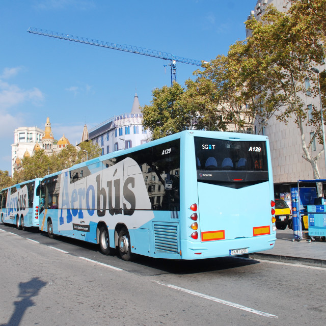 """Aerobus shuttle in Barcelona"" stock image"