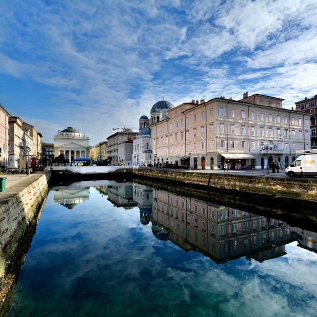 """Trieste, riflessi sul canale"" stock image"