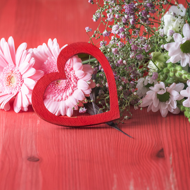 """""""Decorative heart on pink flowers"""" stock image"""