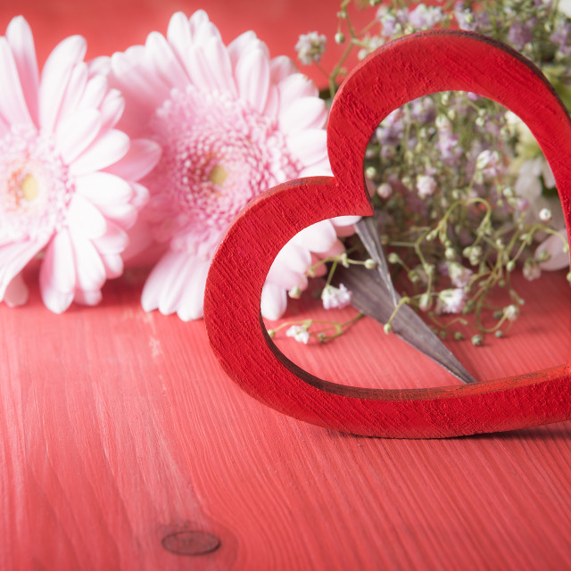 """""""Decorative red heart and chrysanthemum flowers"""" stock image"""