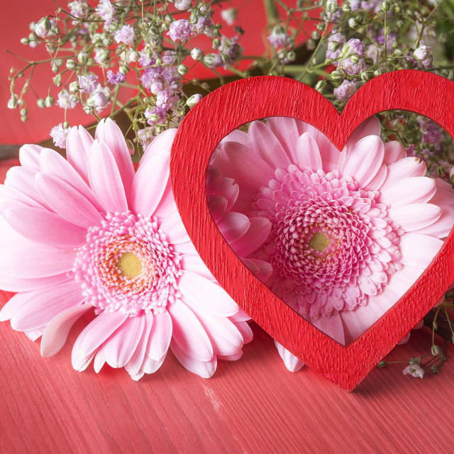 """""""Pink flowers and red heart"""" stock image"""