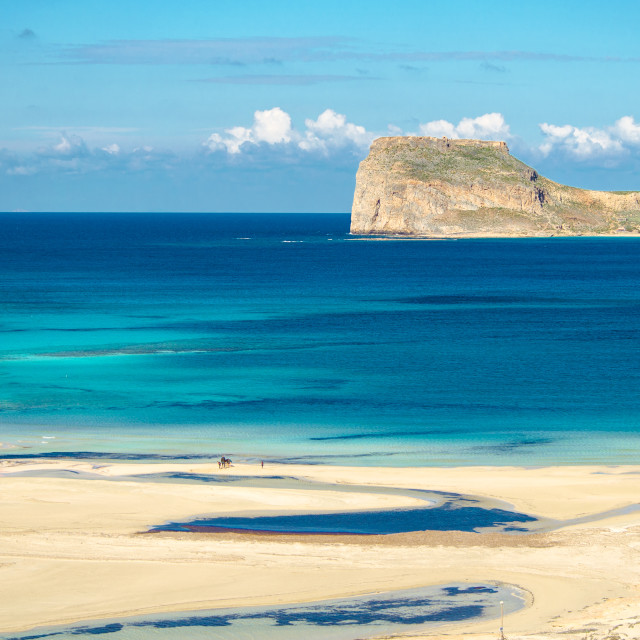 """""""Amazing view of Balos Lagoon with magical turquoise waters, lagoons, tropical beaches of pure white sand and Gramvousa island on Crete, Greece"""" stock image"""