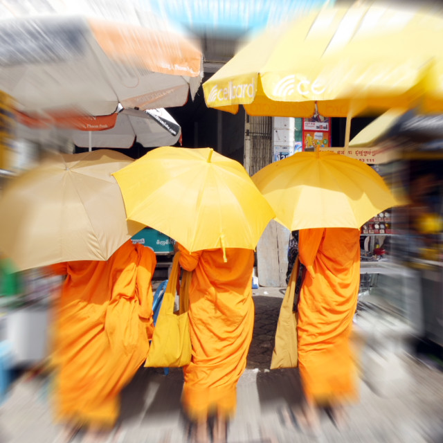 """Monks in Phnom Penh"" stock image"