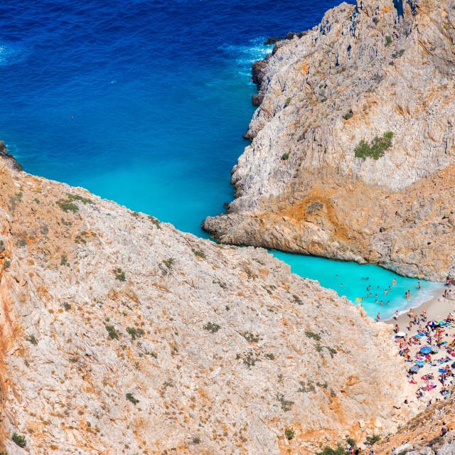 """""""Seitan limania or Agiou Stefanou, the heavenly beach with turquoise water. Chania, Akrotiri, Crete, Greece."""" stock image"""