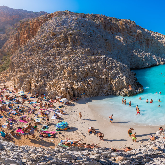"""Seitan limania or Agiou Stefanou, the heavenly beach with turquoise water. Chania, Akrotiri, Crete, Greece."" stock image"
