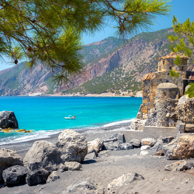 """""""Agios Pavlos beach with Saint Paul church, a very old Byzantine church that was built at the place Selouda, an incredible beach at Opiso Egiali area, Chania, Crete, Greece."""" stock image"""