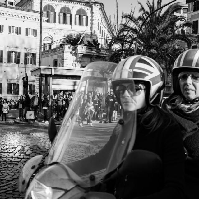 """Rome scooter street scene"" stock image"